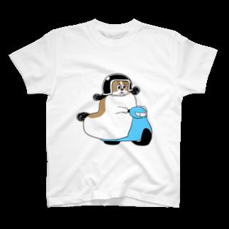 マツバラのもじゃまるバイク移動 水色 T-shirts
