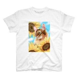 猫とひまわり T-shirts