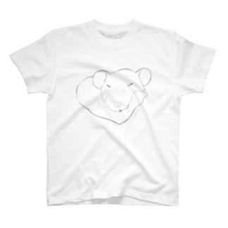 しろちゃんと一緒に筋トレしよう(鈍色グラデ) T-shirts