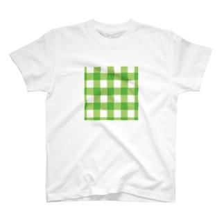 ギンガム緑サコッシュ T-shirts