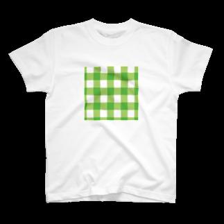 マーケットデザインワーク ビイトのギンガム緑サコッシュ T-shirts