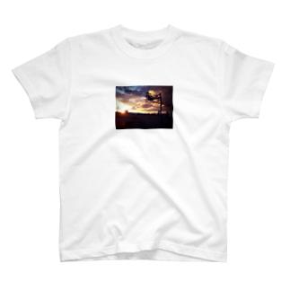夕方のバスケットゴール T-shirts