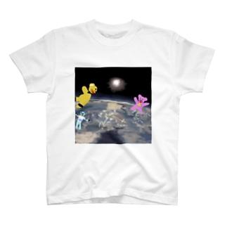 宇宙を旅するくまさん「成層圏(高度20,000m)」 T-shirts