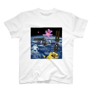 宇宙を旅するくまさん「国際宇宙ステーション」 T-shirts