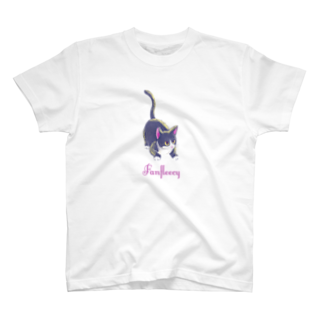 Fanfleecyのmeow meow(black cat) T-shirts