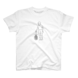 テニス ラケットトス 線画 T-shirts