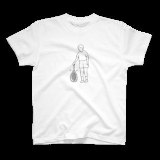 shakemakiのテニス ラケットトス 線画 T-shirts