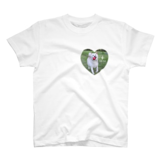 白柴シロのハートTシャツ T-shirts