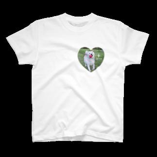 y.shioriの白柴シロのハートTシャツ T-shirts