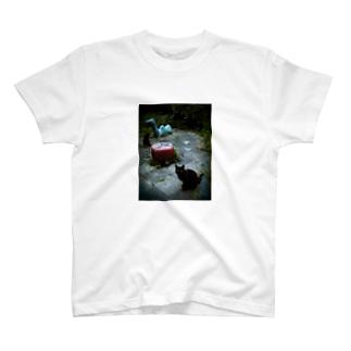 黒猫と遊具 T-shirts
