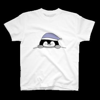 ちょこぺんのねむねむペンギン ブルー T-shirts