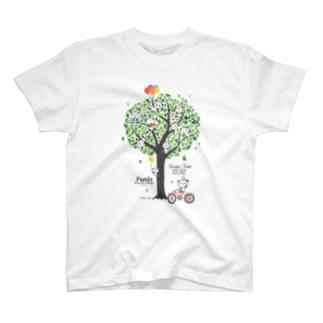 パンダと緑の木(Panda & Green Tree) T-shirts