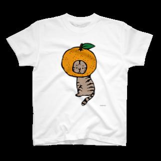 ほっかむねこ屋@TシャツSALE中のみかんかぶりねこ T-shirts