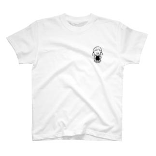 たべる女の子ワンポイント T-shirts