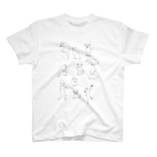 ネコいっぱい白猫 T-shirts