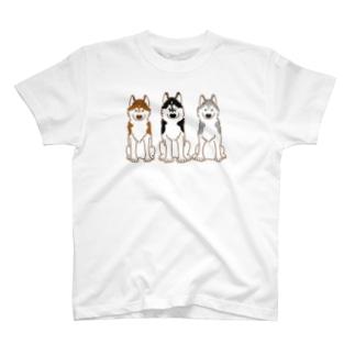 お座りハスキーズ2 T-shirts