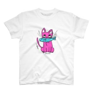 お魚くわえたピンクニャーンコ T-shirts