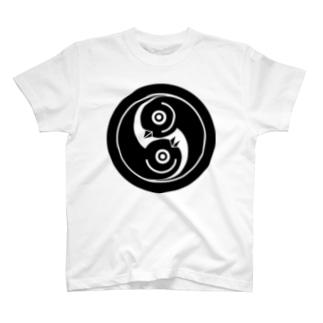 丸に巴雁金 T-shirts