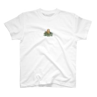 チモシーに埋もれるうさぎさん オレンジロップ T-Shirt