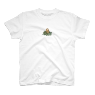 SCHINAKO'Sのチモシーに埋もれるうさぎさん オレンジロップ T-shirts