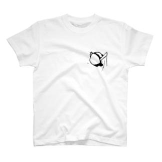 胸ポケットに侵入してくるパンダ T-shirts
