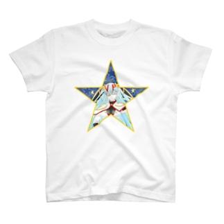 ティッシュババア(背景付き星型)Tシャツ T-shirts