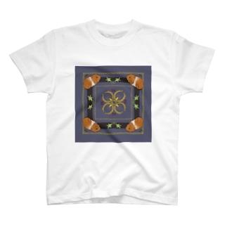 MOLMESスカーフ柄・青・茶もる T-shirts