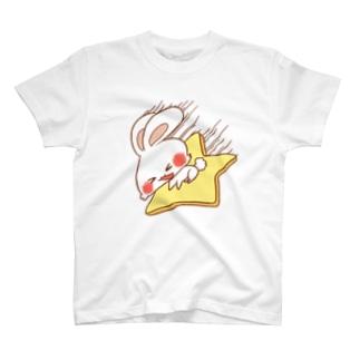 星に乗るうさぎさん T-shirts