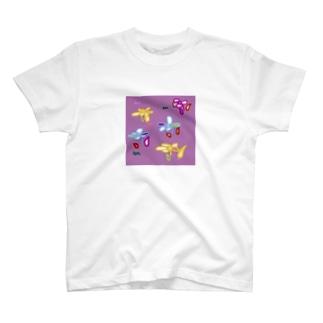 パープルフラワー T-shirts