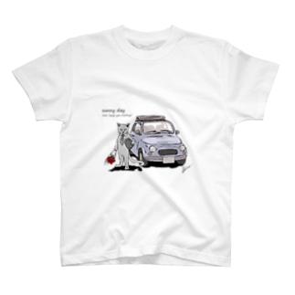 猫の車でデート Tシャツ