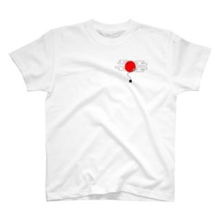 空飛ぶ風船とスペード T-shirts