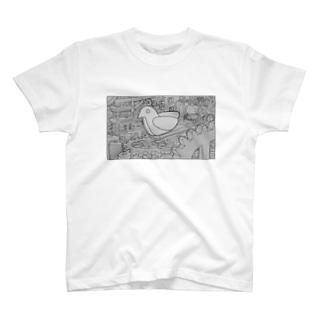 鳩時計の鳩を監視する装置 T-shirts
