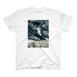 古武術 天心流兵法グッズの猫侍シャツ T-shirts