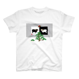 和風の羊イラスト T-shirts