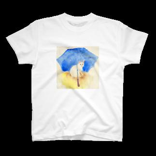 Yumi Kudo ARTの白猫と青い傘 T-shirts
