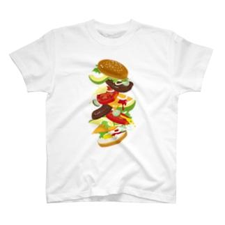 フォーリングハンバーガー T-shirts