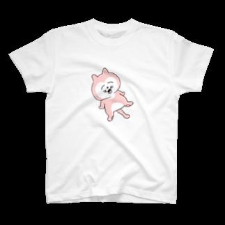 ぽにぽに通信ショップの幸せのまん丸ねこ_大 T-shirts