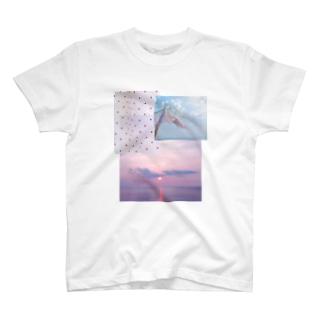 水玉と風のパッチワーク T-shirts