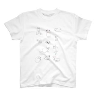 ネコいっぱい白猫5 T-shirts