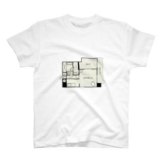 間取りとお文具 1LDKO(お文具) T-shirts