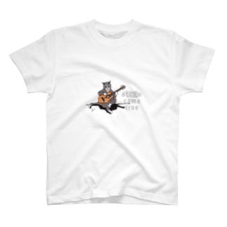 猫とギター Tシャツ