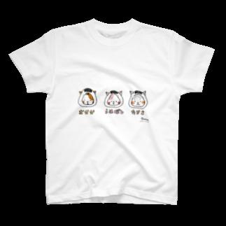 ほっかむねこ屋@TシャツSALE中のおにぎりねこ(おかか、うめぼし、たらこ) T-shirts