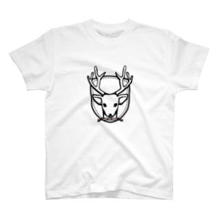 らくがきシリーズ『カレッジ風-シカ』モノクロ T-shirts
