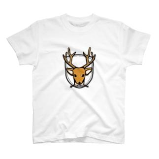 らくがきシリーズ『カレッジ風-シカ』カラフル T-shirts