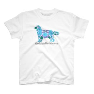 花 ゴールデンレトリバー T-shirts