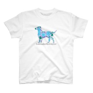 花 ラブラドールレトリバー T-shirts