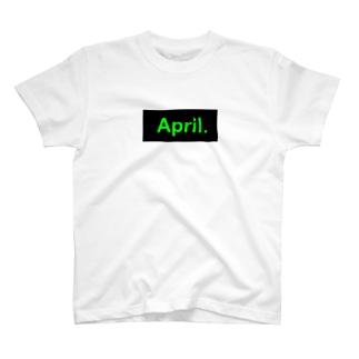 April.BOX LOGO(グリーン×ブラック) T-shirts