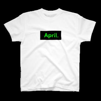 April.のApril.BOX LOGO(グリーン×ブラック) T-shirts
