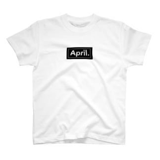 April.BOX LOGO(ブラック×ホワイト) T-shirts