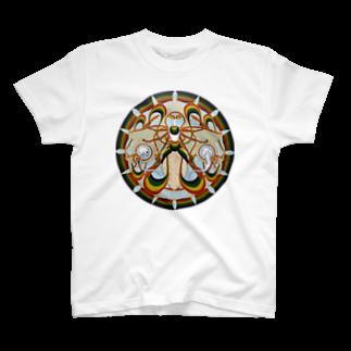 アトリエ蟲人の月の蛾 輪 T-shirts
